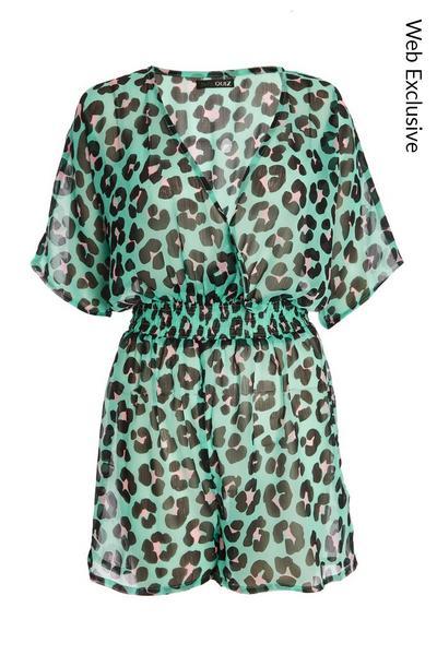 Green Leopard Print Playsuit
